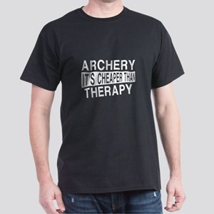 Archery It Is Cheaper Than Therapy Dark T-Shirt