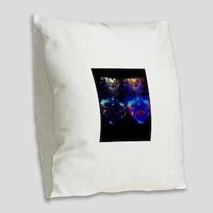 Blacklight Drama Masks Burlap Throw Pillow