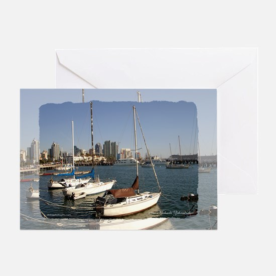 San Diego Sailboats in the City Greeting Card