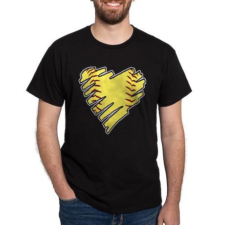 Softball Heart Dark T-Shirt