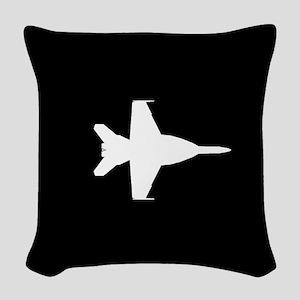 U.S. Military: F-18 Hornet (Bl Woven Throw Pillow