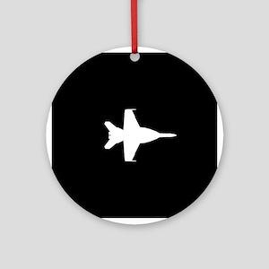 U.S. Military: F-18 Hornet (Black) Round Ornament