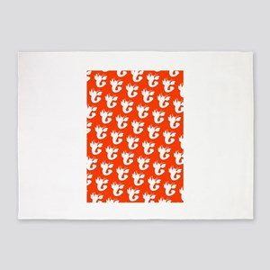 Orange Silhouette Lobster 4Laila 5'x7'Area Rug