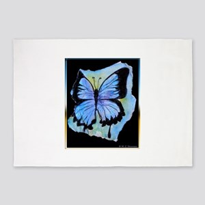 Blue butterfly! Nature art! 5'x7'Area Rug