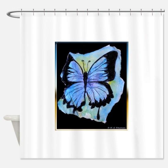 Blue butterfly! Nature art! Shower Curtain
