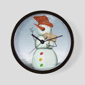 North Pole Bound Snowman Wall Clock