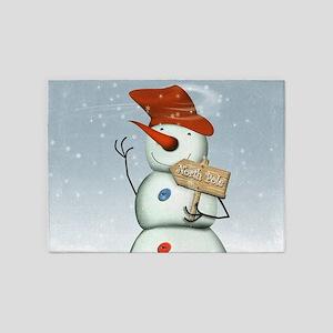 North Pole Bound Snowman 5'x7'Area Rug