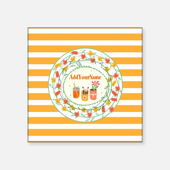 """Monogrammed Fall Leaves Off Square Sticker 3"""" x 3"""""""