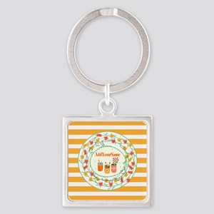 Monogrammed Fall Leaves Office Per Square Keychain
