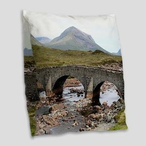 Sligachan Bridge, Isle of Skye Burlap Throw Pillow