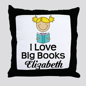 I Love Big Books Personalized Throw Pillow