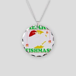 Merry Fishmas Necklace Circle Charm