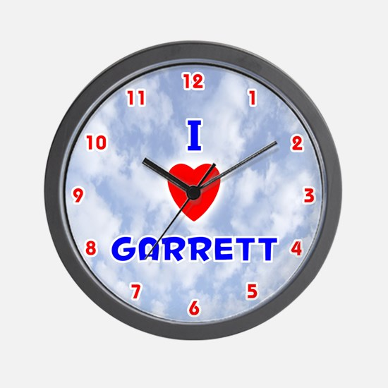 I Love Garrett (Red/Bl) Valentine Wall Clock