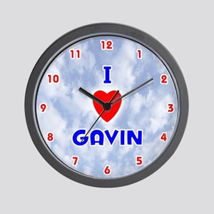 I Love Gavin (Red/Bl) Valentine Wall Clock