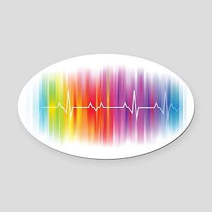 Gay Pride Pulse Oval Car Magnet