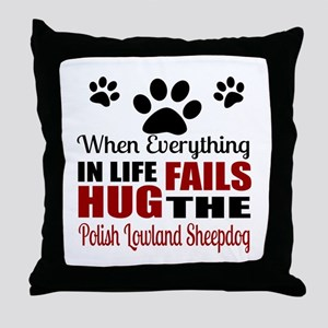 Hug The Polish Lowland Sheepdog Throw Pillow