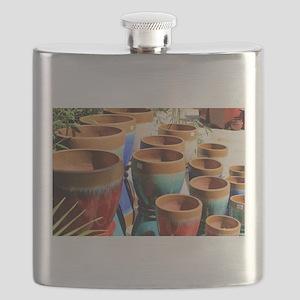 Coloured garden plant pots Flask
