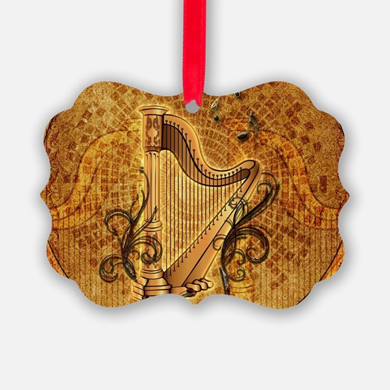 Golden harp on wonderful vintage background Orname