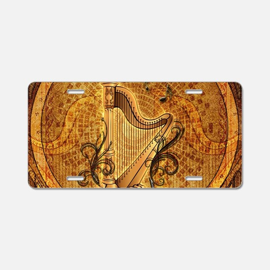 Golden harp on wonderful vintage background Alumin