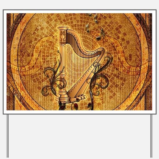 Golden harp on wonderful vintage background Yard S