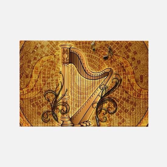 Golden harp on wonderful vintage background Magnet
