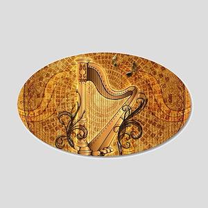 Golden harp on wonderful vintage background Wall D
