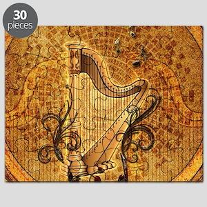 Golden harp on wonderful vintage background Puzzle