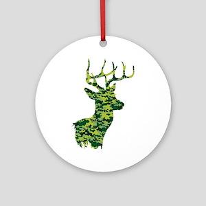 Green Camo Deer Round Ornament