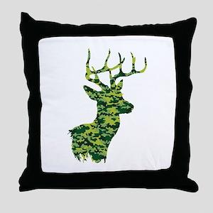 Green Camo Deer Throw Pillow