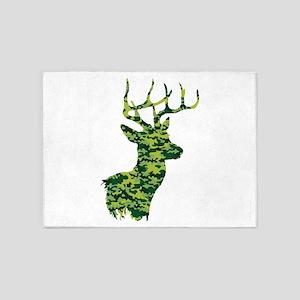 Green Camo Deer 5'x7'Area Rug
