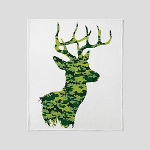 Green Camo Deer Throw Blanket