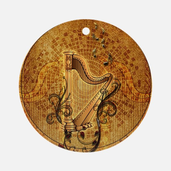 Golden harp on wonderful vintage background Round