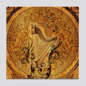Golden harp on wonderful vintage background Tile C