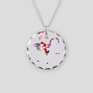 Christmas Unicorn Necklace Circle Charm