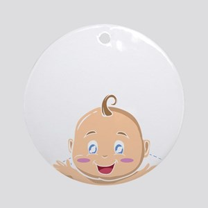 Peek A Boo Baby Round Ornament