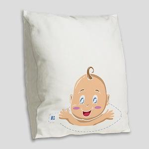 Peek A Boo Baby Burlap Throw Pillow