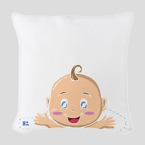 Peek A Boo Baby Woven Throw Pillow