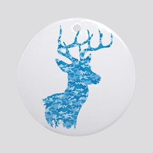 Blue Camo Deer Round Ornament