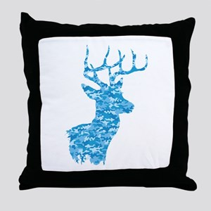 Blue Camo Deer Throw Pillow
