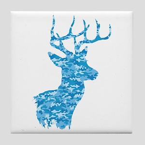 Blue Camo Deer Tile Coaster
