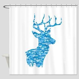 Blue Camo Deer Shower Curtain