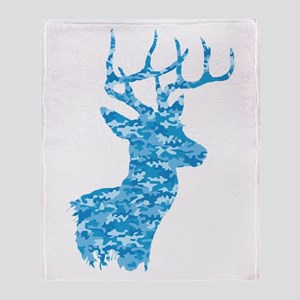 Blue Camo Deer Throw Blanket