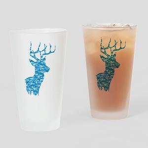 Blue Camo Deer Drinking Glass