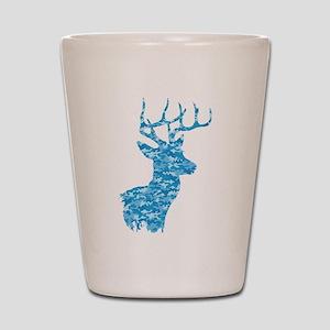 Blue Camo Deer Shot Glass
