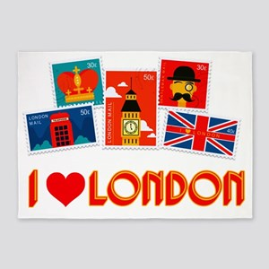 I love London Stamps 5'x7'Area Rug