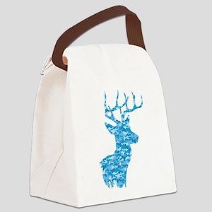 Blue Camo Deer Canvas Lunch Bag