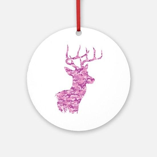 Pink Camo Deer Round Ornament