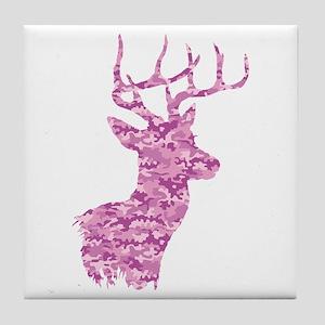 Pink Camo Deer Tile Coaster