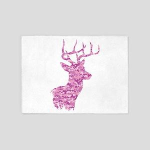 Pink Camo Deer 5'x7'Area Rug