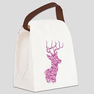 Pink Camo Deer Canvas Lunch Bag